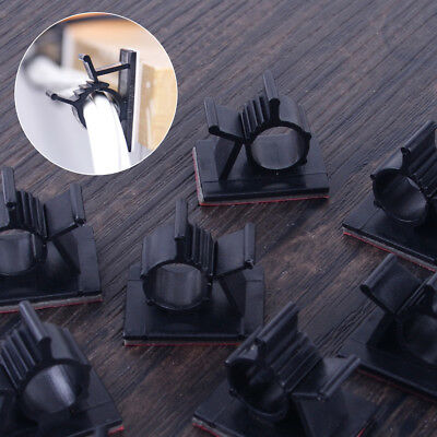 50pcs Self Adhesive Adjustable 10mm Wire Cable Ties Clamps Sticker Clips Mount