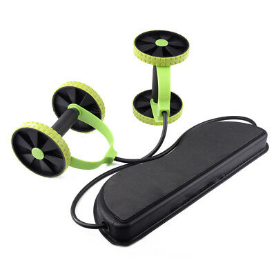 Double Wheel Ab Roller Pull Rope Waist Abdominal Slimming Gym Exercise Equipment