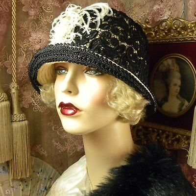 1920'S Vintage Style Off-White & Black Lace Brooch Cloche Flapper Dress Hat
