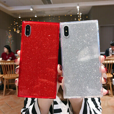 Bling 3D Soft TPU Square Phone Case Cover Shell For iPhone 6 7 8 Plus XS MAX XR
