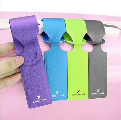 1× PU Leather Luggage Tag Suitcase Label Baggage Handbag Tag for Travel Portable