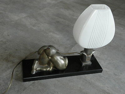 antique LAMP bear teddy ART DECO table figurine desck french marble light old