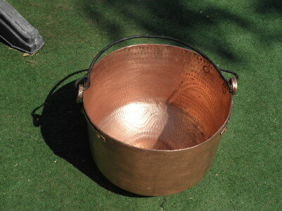 Copper pan Castle of fireplace Pot Cauldron Victorian riveted KITCHEN Kettle 17'