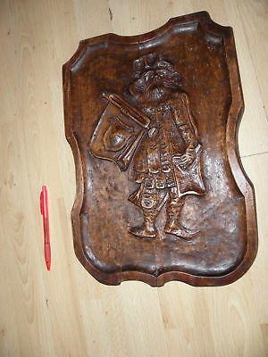 old wall panel carving wood armoirie medieval BLACK FOREST vintage