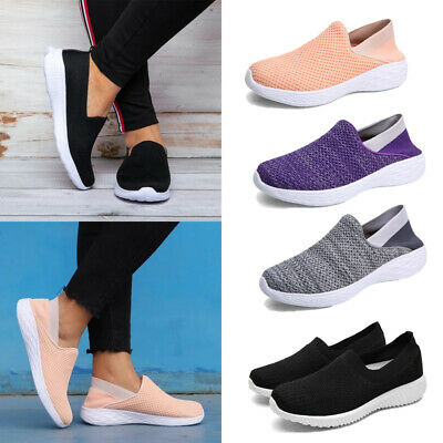 Womens Mesh Breathable Trainers Gym Sport Slip On Sneakers Casual Shoes Size