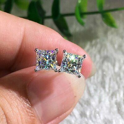 2ct Princess Cut Diamond Solitaire Stud Earrings For Women's 14K White Gold Over
