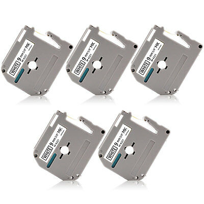 """5PK MK-221 9mm 0.35"""" Black/White Label Tape P-Touch Compatible Brother PT85 PT90"""
