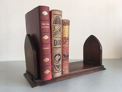 Antique Victorian Oak Book Slide, Small Adjustable Book Case Stand Ends