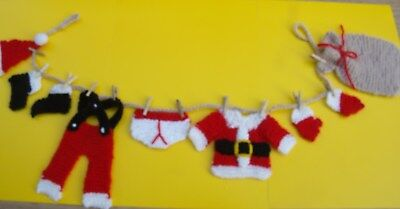 KNITTING PATTERN -  Father Christmas / Santa washing line garland decoration