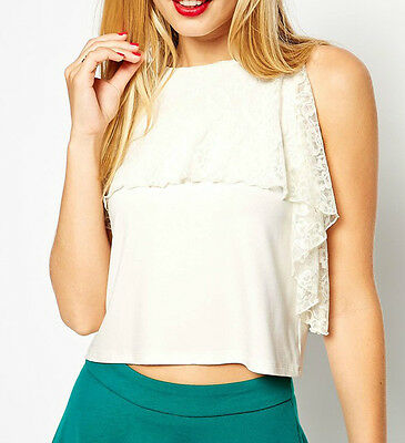 afa5029a1c3 Womens lace overlay white party festival crop top BNWT by ASOS size 10 12