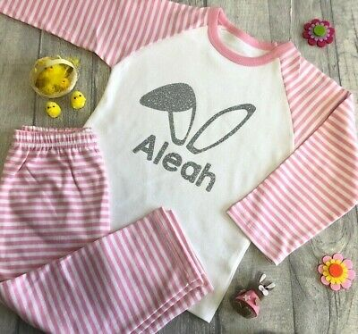 PERSONALISED EASTER BUNNY PYJAMAS, Pink White PJs Silver Glitter Bunny Ears Name