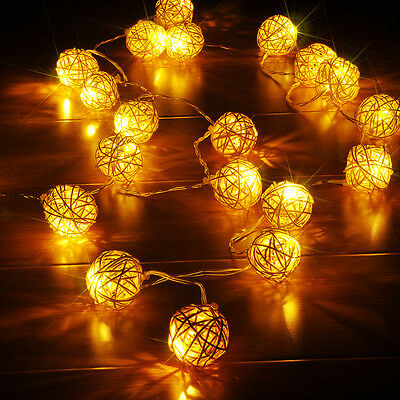 Room 50 Warm White Rattan Ball LED String Light Fairy Lamp Wedding Party Decor