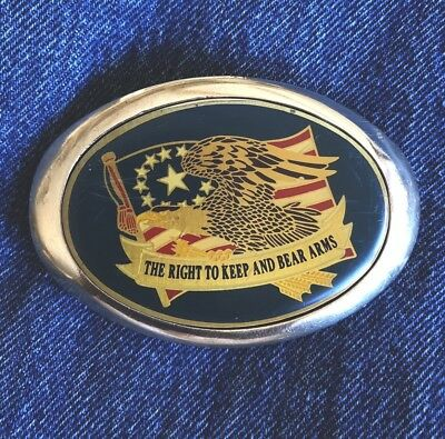 1983 Solid Brass RIGHT TO KEEP AND BEAR ARMS USA Flag/Eagle BARON Belt Buckle