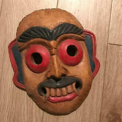 Asian Wooden Hand Carving Sculpture Traditional Mask Vintage 24.0 cm Rare F/S U9