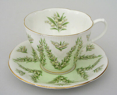 Royal Albert Cup & Saucer - Green Damask - Lily Of The Valley - England