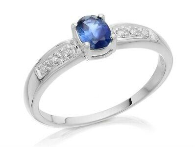 dfbe1280d F.Hinds Womens Jewellery 9ct White Gold Sapphire And Diamond Band Ring 5pts