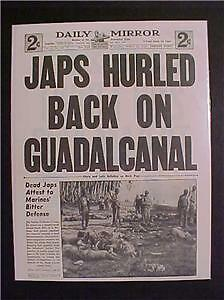 Vintage Newspaper Headline~World War 2 Japanese Guadalcanal Japan Battle Us Wwii