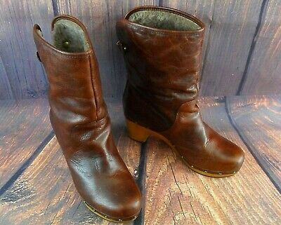 acd06ddaf8f UGG WOMEN'S ANKLE Boots Booties Shoes Mahogany Brown Leather Suede  Shearling 7M