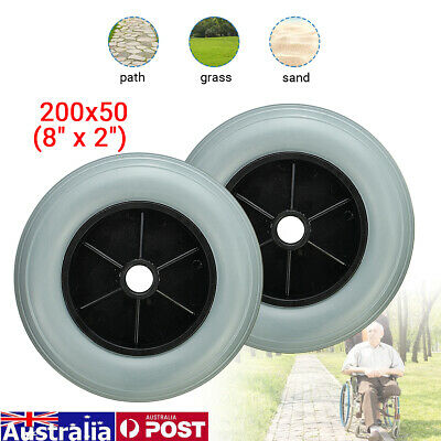 """8"""" Front Wheel Chair Solid Tyre For Wheelchair Replacement Parts Bearing 608ZZ"""