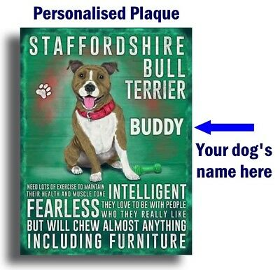 PERSONALISED Staffordshire Bull Terrier Staffy Breed Plaque Sign gift wall door