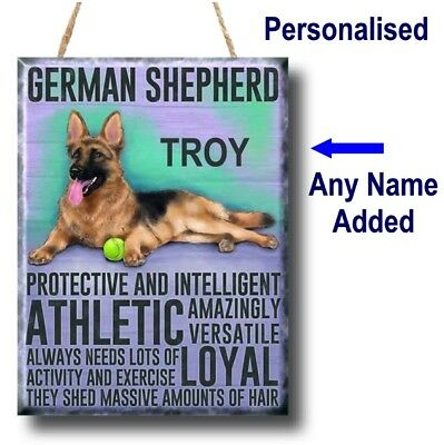 PERSONALISED German Shepherd Dog Breed GSD - Alsation Plaque Sign gift vintage
