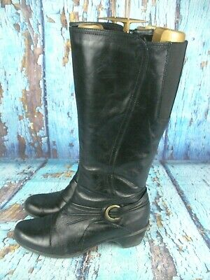 749d882f5456 Clarks Bendables Black Leather Knee High Tall Boots 38480 Women s Size  ...