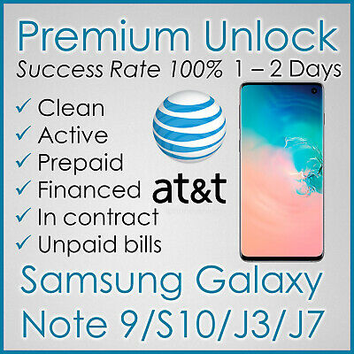Premium Factory Unlock Code For At&T Att Samsung Galaxy S10, Note 9, J3, J7