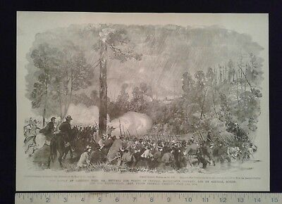 1885 Civil War Print - Battle at Carrick's Ford, VA