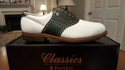 *VINTAGE Footjoy Classics Mens Golf Shoes 51238 NEW Wh/Grn 8.5D Made in USA MINT