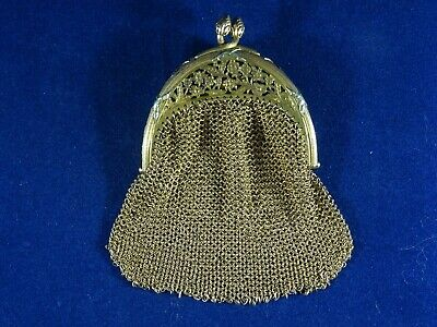 Art Nouveau Gold Plated Chainmail Chatelain Coin Purse/Rosary Pouch French?