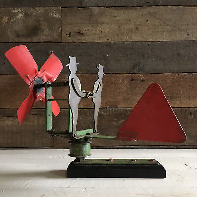 Vintage Metal FOLK ART Weathervane Whirligig Garden Ornament Automaton Artwork
