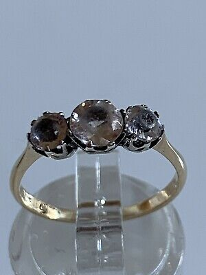 Vintage Art Deco Ciro Solid 9ct Yellow Gold Ring Round Paste Stones 1.4g