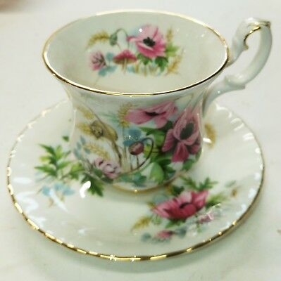 "ROYAL ALBERT: Rare ""Harvest Poppy"" Demitasse Cup & Saucer ""Country Life"" Series"