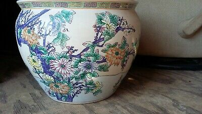 "ANTIQUE Chinese FAMILLE Porcelain 12"" FISHBOWL - Planter - Cachepot - Jardiniere"