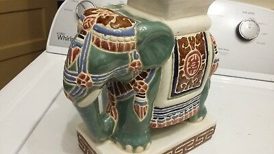"ANTIQUE Chinese Porcelain ELEPHANT Figurine 10"" Table - Plant Stand - Stool"