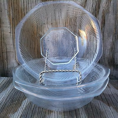 Arcopal France Dishes Clear Glass Octagon Soup, Cereal Or Salad Bowls Set Of 3