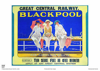 Blackpool Lancashire Retro Vintage Railway Poster Travel Advertising Holiday