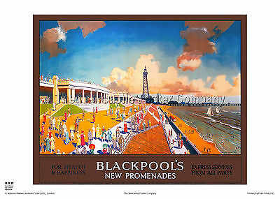 Blackpool Lancashire Railway Poster Retro Vintage Travel Advertising Art