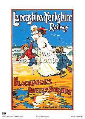 Blackpool Lancashire Retro Vintage Railway Poster Advertising Travel Old