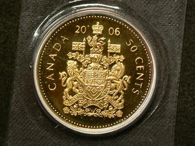 2006 Canada 50 Cents Proof Gold Plated Silver Coin  #3050
