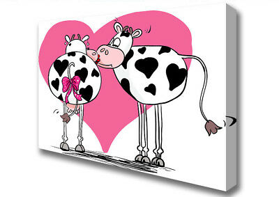 Cows In Love Kissing Word Quotes Canvas Print Wall Art A1 Size 12846