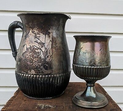 Wilcox Silver Plate Pitcher Engraved Flower Floral Bedside Cup Goblet Ornate Set