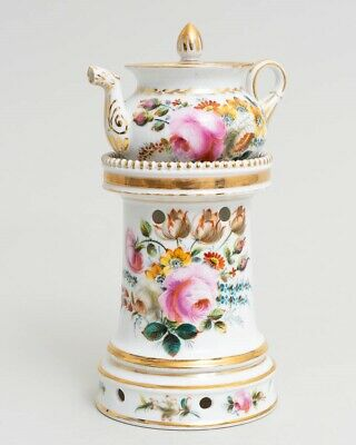 Antique French Veilleuse Tisaniere Teapot on Stand Painted by P. Lambert 1830