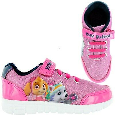 Girls Official Paw Patrol Pink Character Sports Trainers Shoes Uk Size 5-10