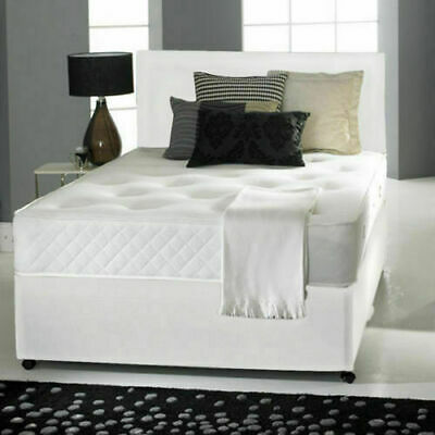 Complete Divan Leather Bed Set + Orthopaedic Mattress + Matching Headboard