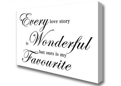 RED WHITE CANVAS EVERY LOVE STORY QUOTE WORD ART PICTURE 4 PANEL SPLIT ART 100cm