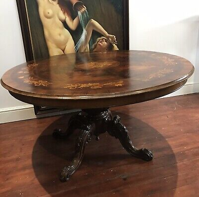 19th Century Victorian Kingwood Fine Marquetry Centre Table/ Dining Table
