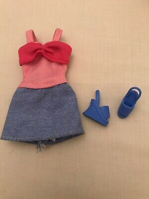 Barbie Doll Clothes Pink And Blue Summer Dress With Blue Shoes