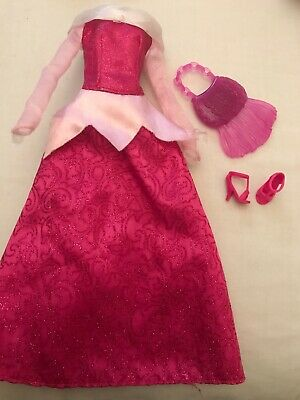 Beautiful Barbie Doll Clothes Pink Lace Dress And Matching Shoes And Bag