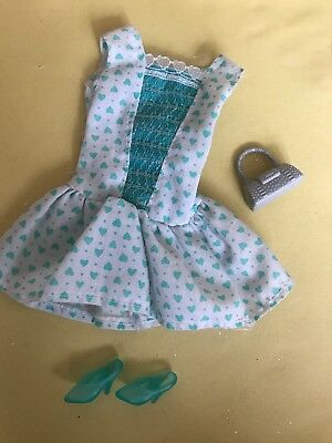 Barbie Doll Clothes Green & White Summer Dress With Matching Shoes & Silver Bag
